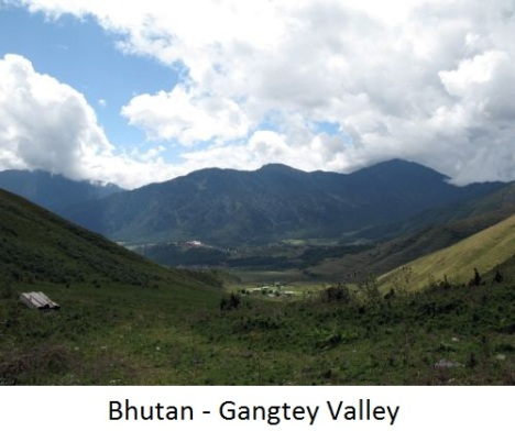 Gangtey valley in Bhutan