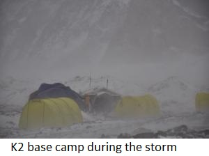 K2 Base Camp At Night Winter Climb Update: Teams Reach Gasherbrum BC.